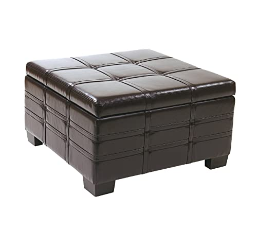 AVE SIX Detour Bonded Leather Strap Storage Ottoman with Tray and Slam Proof Hinges, Espresso