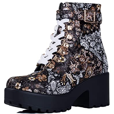 c40f4b65c84 Spylovebuy VICIOUSER Women's Chunky Platform Lace Up Block Heel Ankle Boots  Pumps