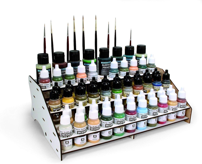 Vallejo 26007 - Modulo Frontal para organizar los colores, permite exponer 52 botellas de 17 ml./0.57 fl.oz., junto con 8 botellas de 35 ml./1.18 fl.oz. o 60 ml./2.02 fl.oz. y 22 pinceles
