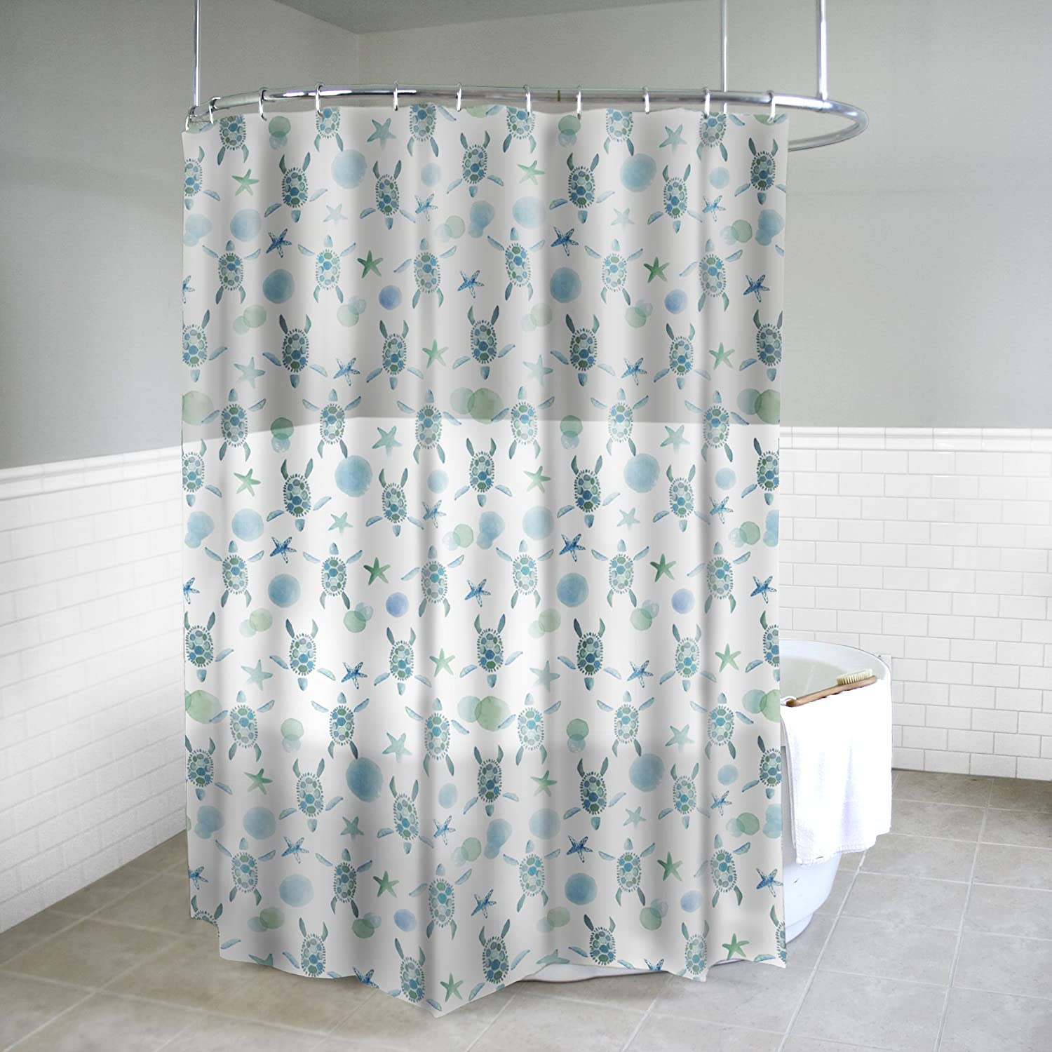 Amazon Splash Home Peva 4G Sea Turtles Shower Curtain Liner Design For Bathroom Showers And Bathtubs