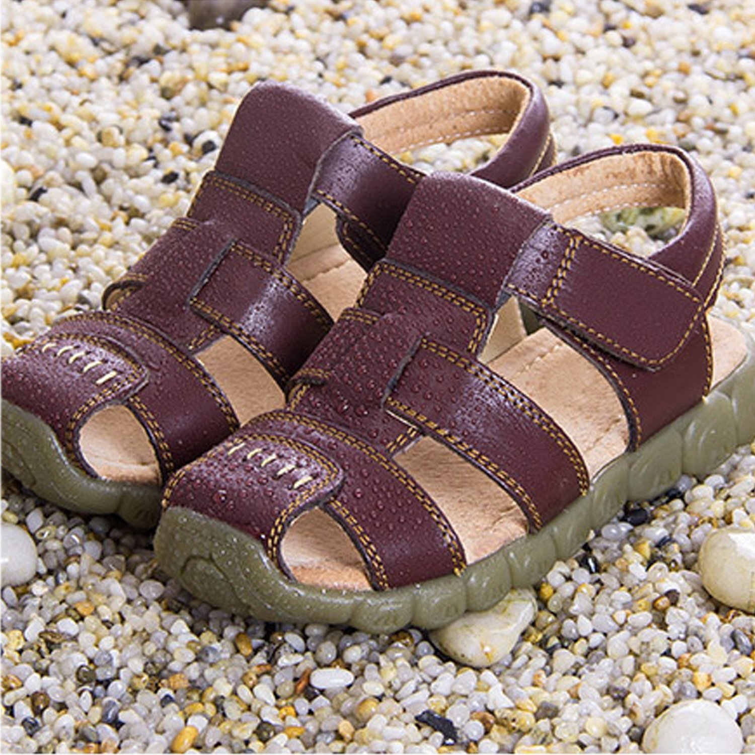 Infant Toddler Baby Boys Girls Leather Closed Toe Outdoor Sports Flat Shoes Summer Casual Sandals