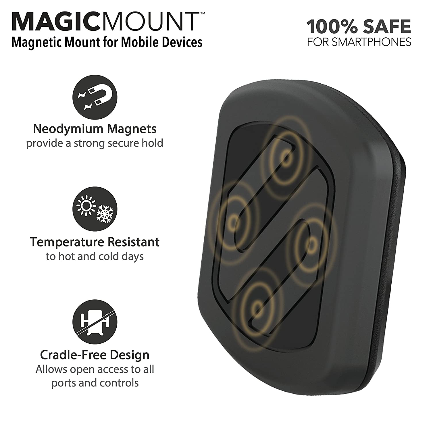 Home or Office SCOSCHE MAGFM MagicMount Universal Magnetic Phone//GPS Flush Mount for the Car