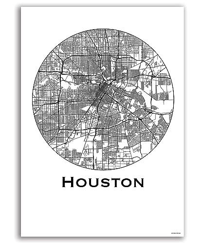 Amazon.com: Poster Houston USA City Map Street Map Wall Decor ...
