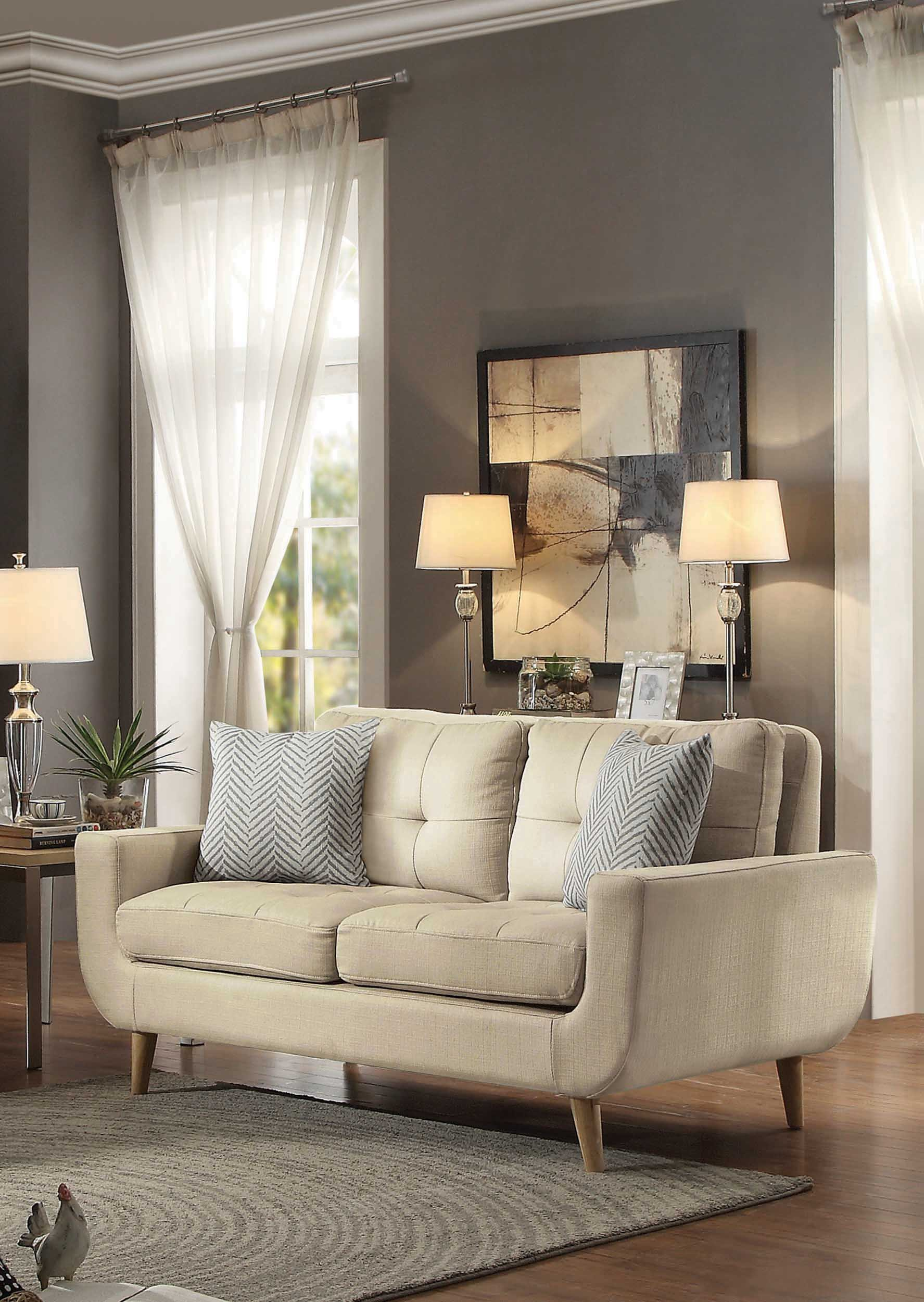 Homelegance Deryn Mid-Century Modern Loveseat with Tufted Back and Two Herringbone Throw Pillows, Beige by Homelegance (Image #2)