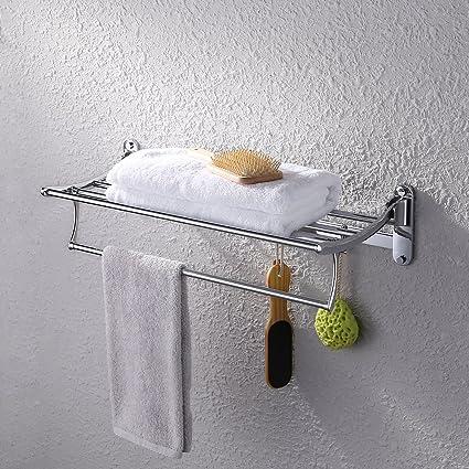 KES A3010 Towel Rack With Foldable Towel Bar 24 Inch, Polish Chrome