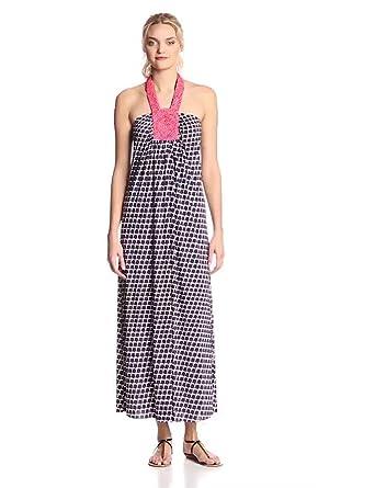 MISA Women's Macrame Halter Circle Print Maxi Dress, Navy/Coral/White/Pink Beads, Small