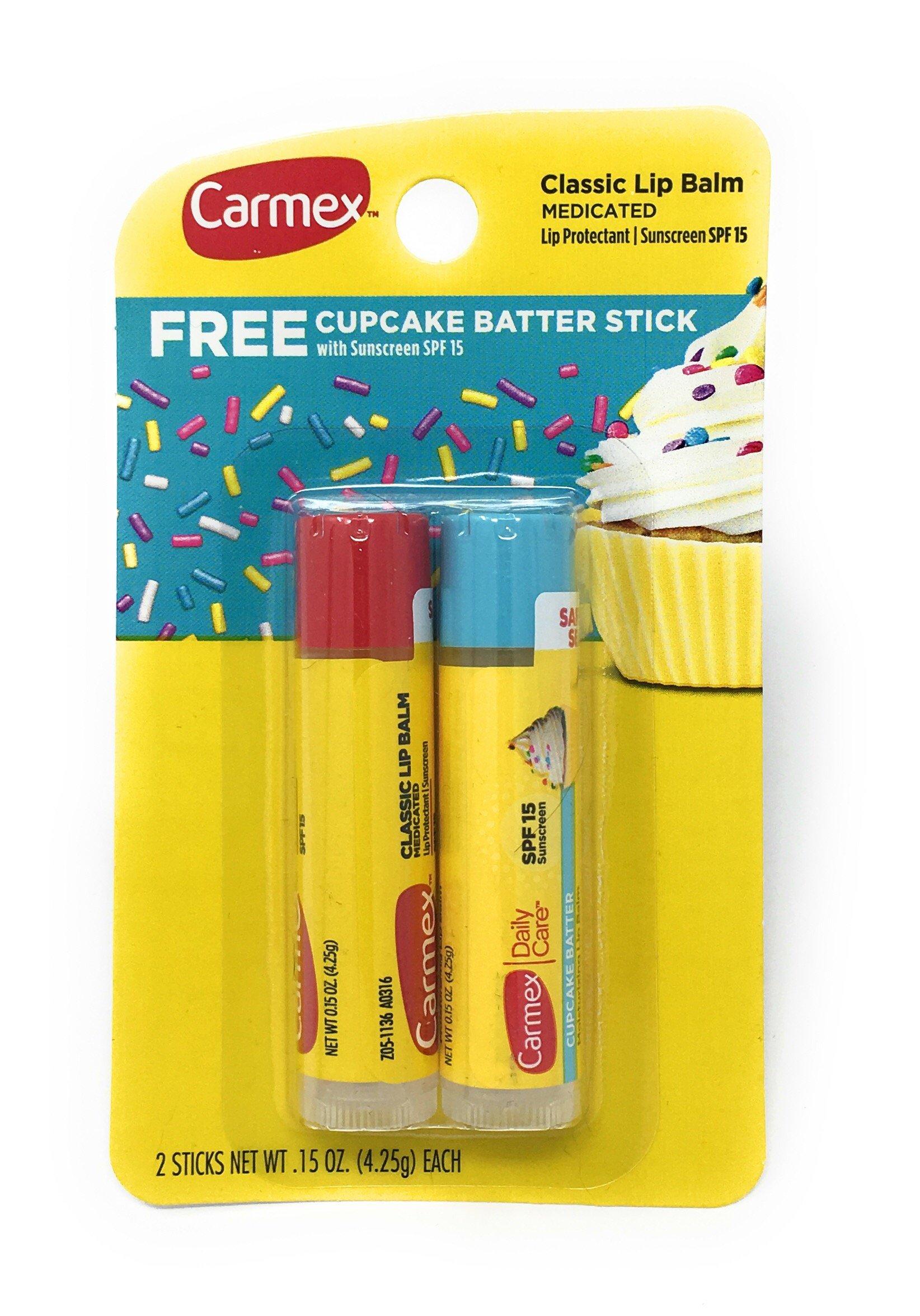 Carmex Classic Medicated Lip Balm Stick with FREE Cupcake Batter Stick