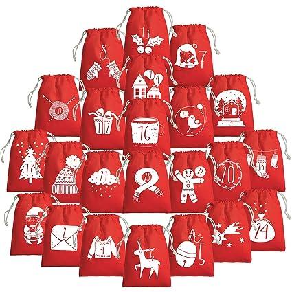 Calendrier De Lavent A Remplir Soi Meme.Calendrier De L Avent A Remplir Soi Meme Sachet En Coton Avec Motifs De Noel Imprimes 15 X 20 Cm Rouge