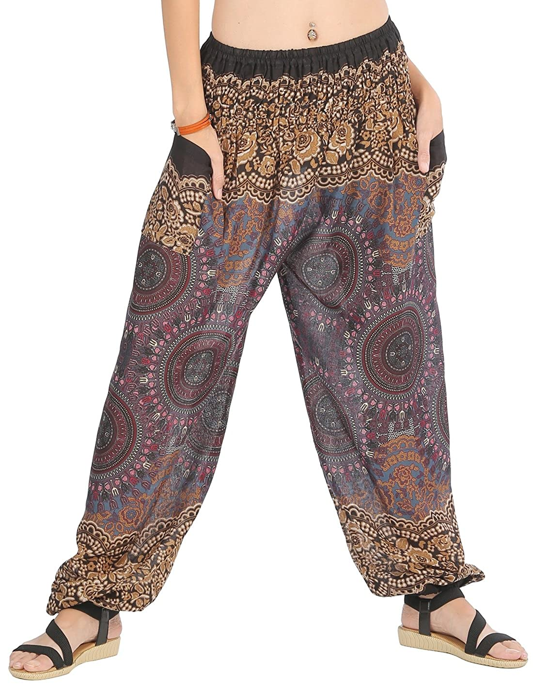 359dad60ce4fe2 BREATHABLE, SILKY SOFT RAYON FABRIC: Made out of a rayon fabric, CandyHusky printed  harem pants are silkier, softer & smoother than your average loose fit ...