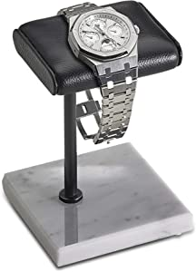 Handcrafted Leather & Marble Watch Display Stand for Rolex, Omega, Patek Philippe, Audemars Piguet, Richard Mille, Breitling, Tudor, Cartier, TAG Heuer (Black/Black/White)