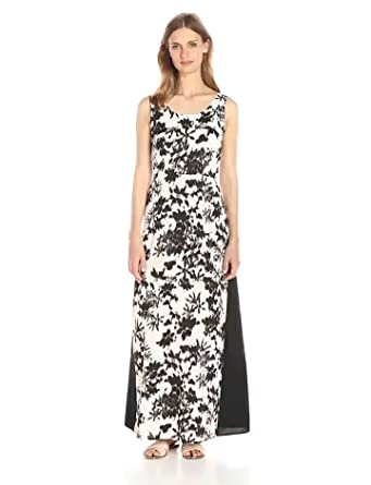 Lark & Ro Women's Sleeveless Printed Maxi Dress, Black Floral, X-Small