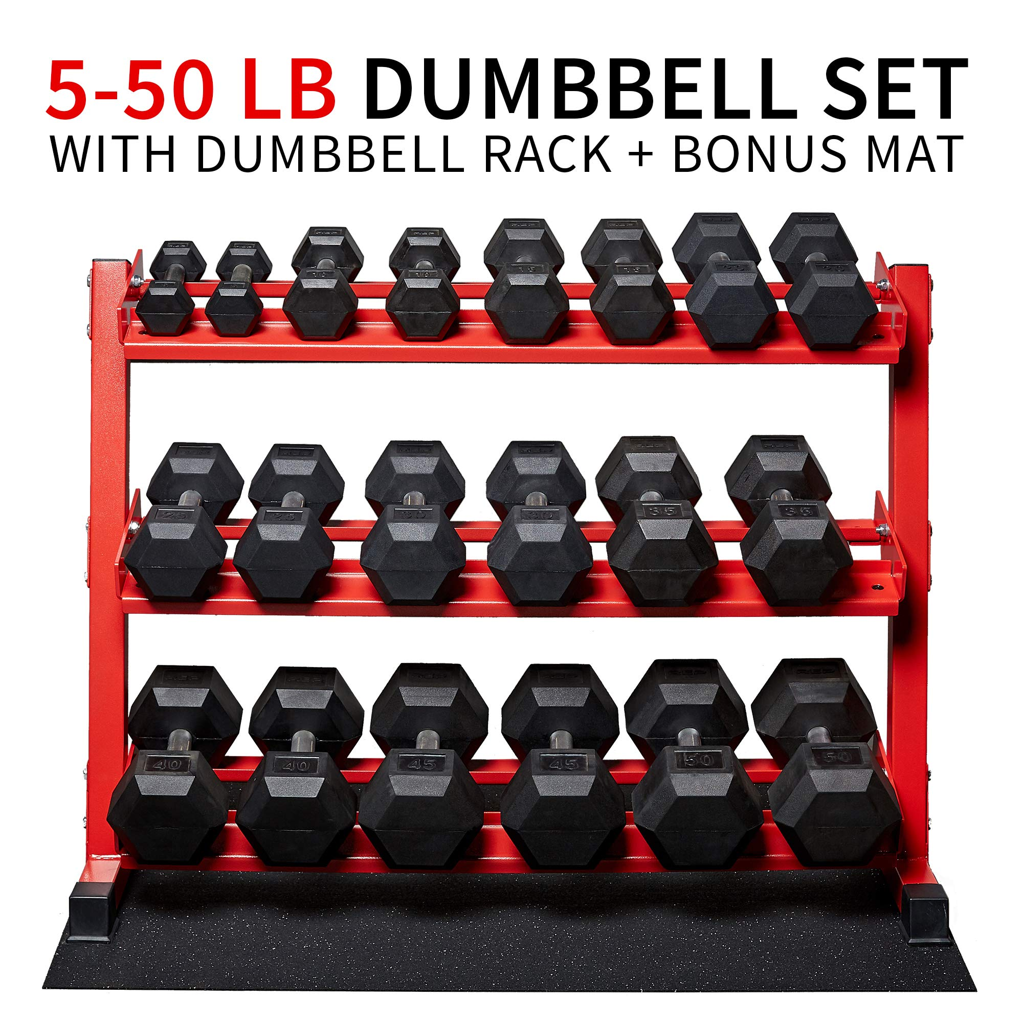 5-50 lb Rep Rubber Hex Dumbbell Set with Red Rack