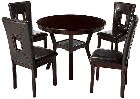 Cool Alpine Furniture 5213 5 Piece Segundo Dining Set 42 Diameter Espresso Short Links Chair Design For Home Short Linksinfo