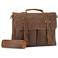 Fresion Waxed Canvas and Leather Messenger Bag (Brown)