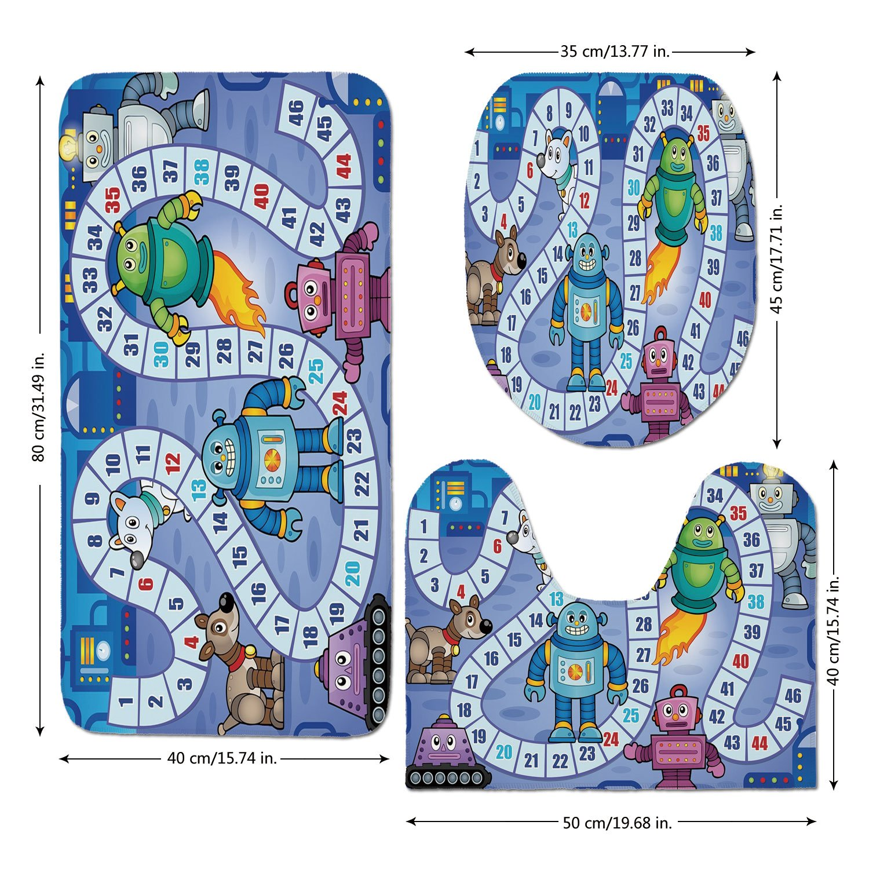 3 Piece Bathroom Mat Set,Board-Game,Futuristic-Robots-Automaton-Mechanical-Characters-Technology-Factory-Boys-Print-Decorative,Multicolor.jpg,Bath Mat,Bathroom Carpet Rug,Non-Slip