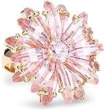 CZ by Kenneth Jay Lane Garden Rhodium-Plated Flower Burst Pink Cubic Zirconia Ring, Size 7, 3 CTTW