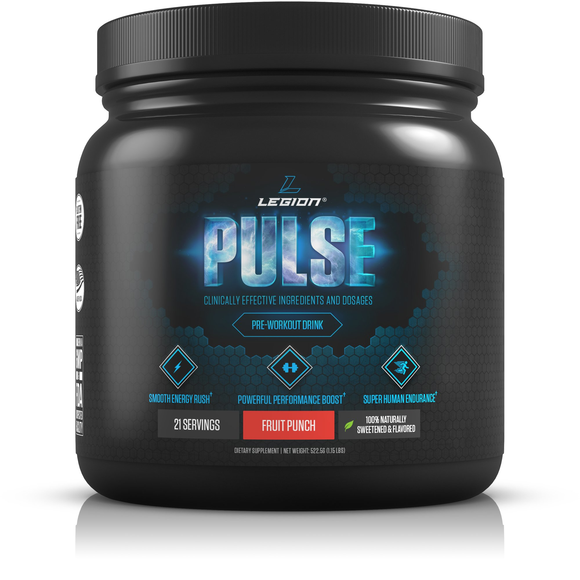 Legion Pulse Pre Workout Supplement - All Natural Nitric Oxide Preworkout Drink to Boost Energy & Endurance. Creatine Free, Naturally Sweetened & Flavored, Safe & Healthy. Fruit Punch, 21 Servings by Legion Athletics