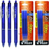 Pilot FriXion Clicker Retractable Gel Ink Pens with Erasable Fine Point 0.7 mm - Pack of 3 with 2 Packs Refills (Blue)