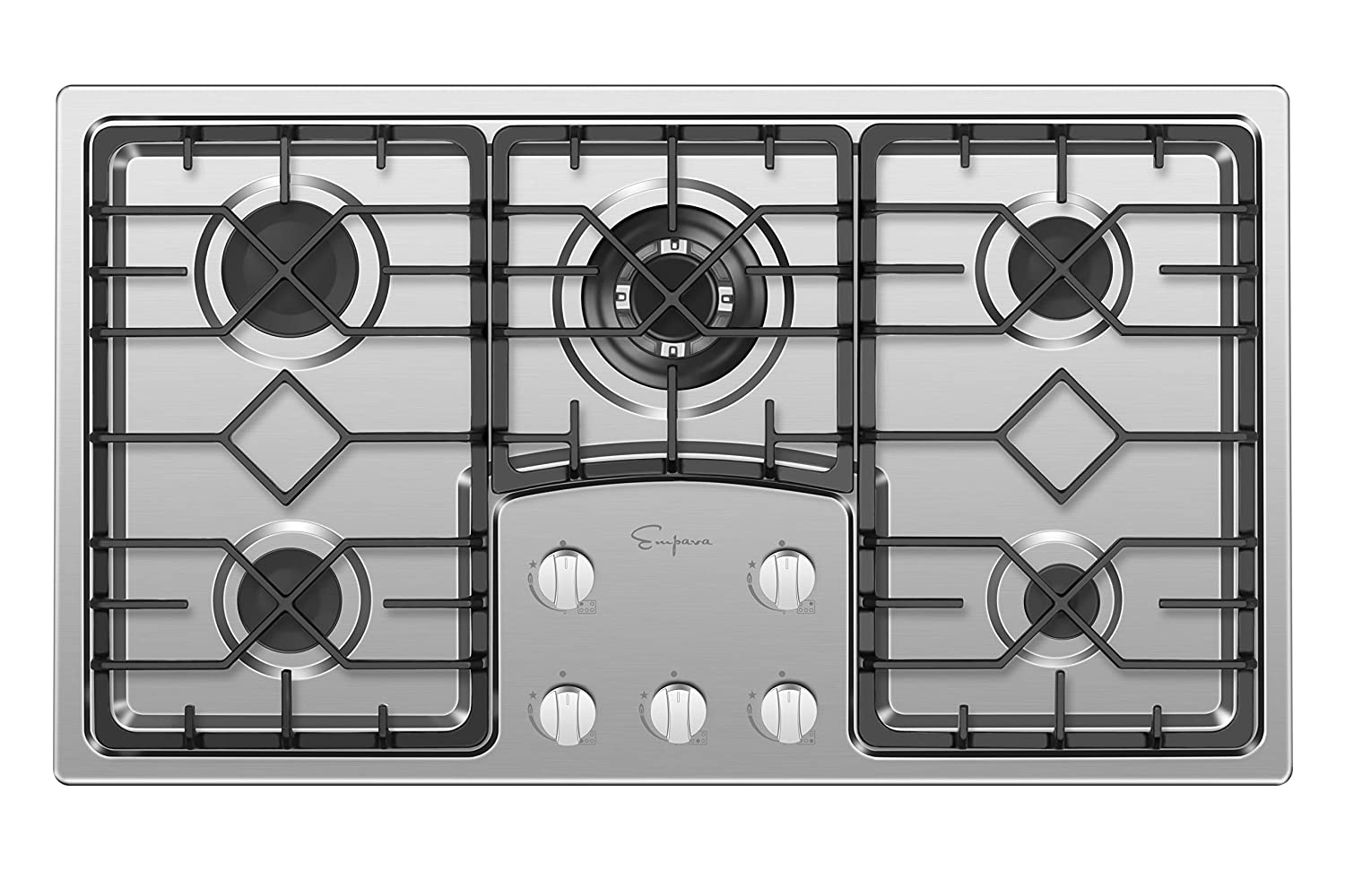 Empava EMPV-36GC5B9S 36' Recessed Gas Stove Cooktop with 5 Italy SABAF Sealed Burners NG/LPG Convertible in Stainless Steel