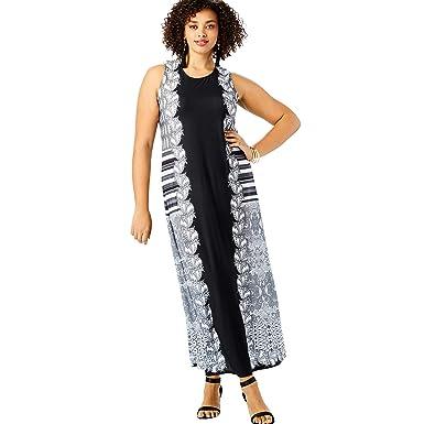 56ad20a66f1 Roamans Women s Plus Size Print Maxi Dress at Amazon Women s Clothing store