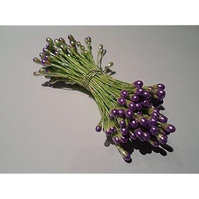 100 estambres de la flor tallo verde con cabeza de luz púrpura boda Pascua decoración de la torta: Bebé