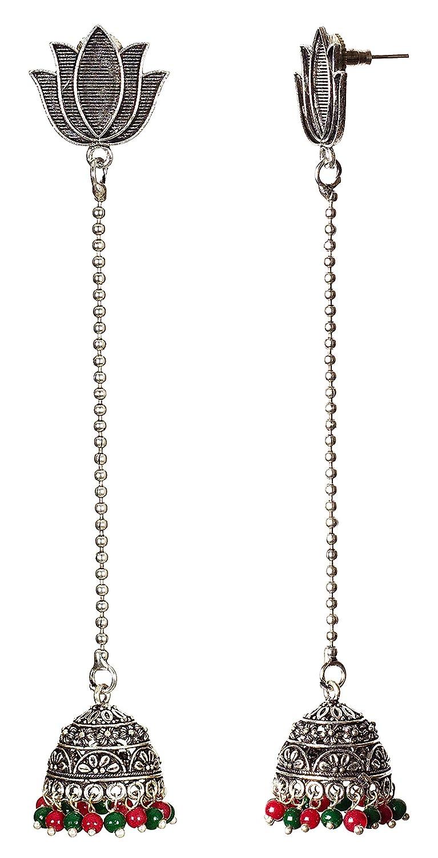 DESI HAWKER Silver Oxidized Earring Bali Jhumki Jhumka Jewelry Bollywood Drop Dangle Chandelier Lotus NI-32