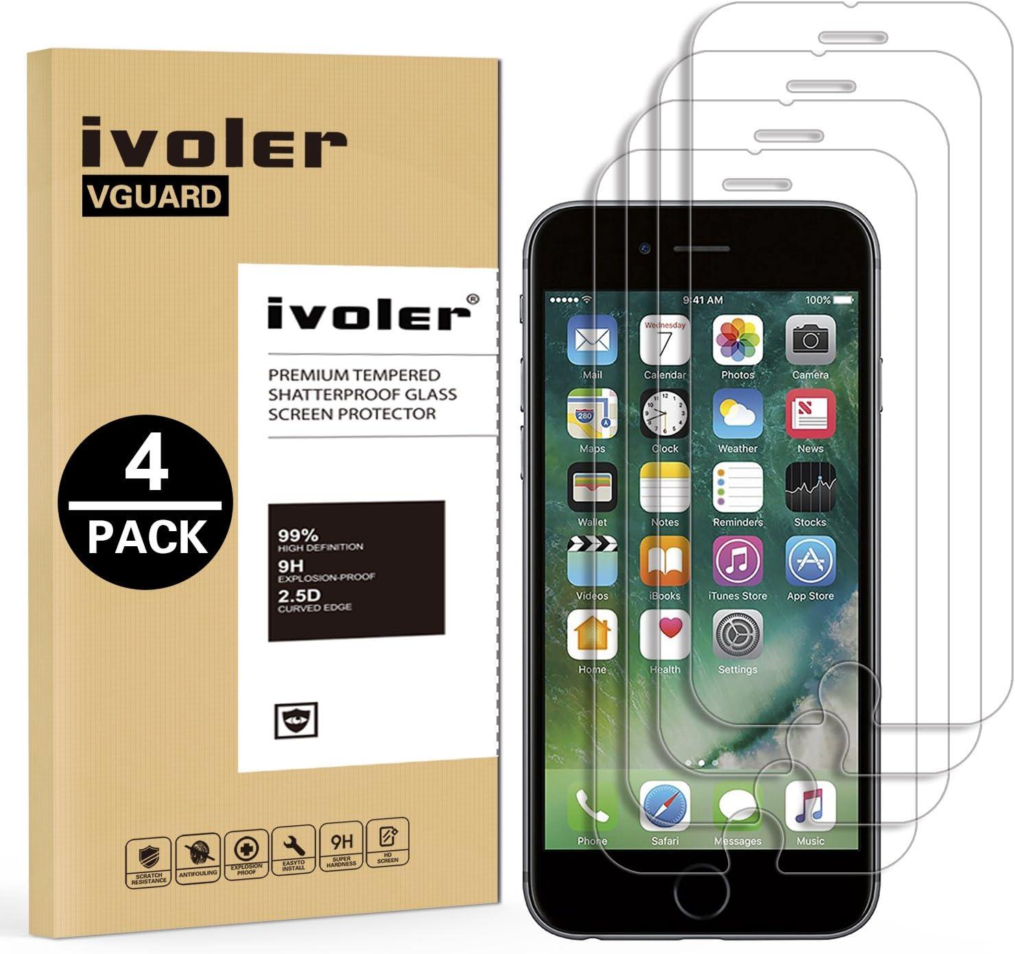 ivoler [4 Unidades] Protector de Pantalla para iPhone 8 Plus/iPhone 7 Plus/iPhone 6S Plus/iPhone 6 Plus, Cristal Vidrio Templado Premium [Dureza 9H] [Anti-Arañazos] [Sin Burbujas]