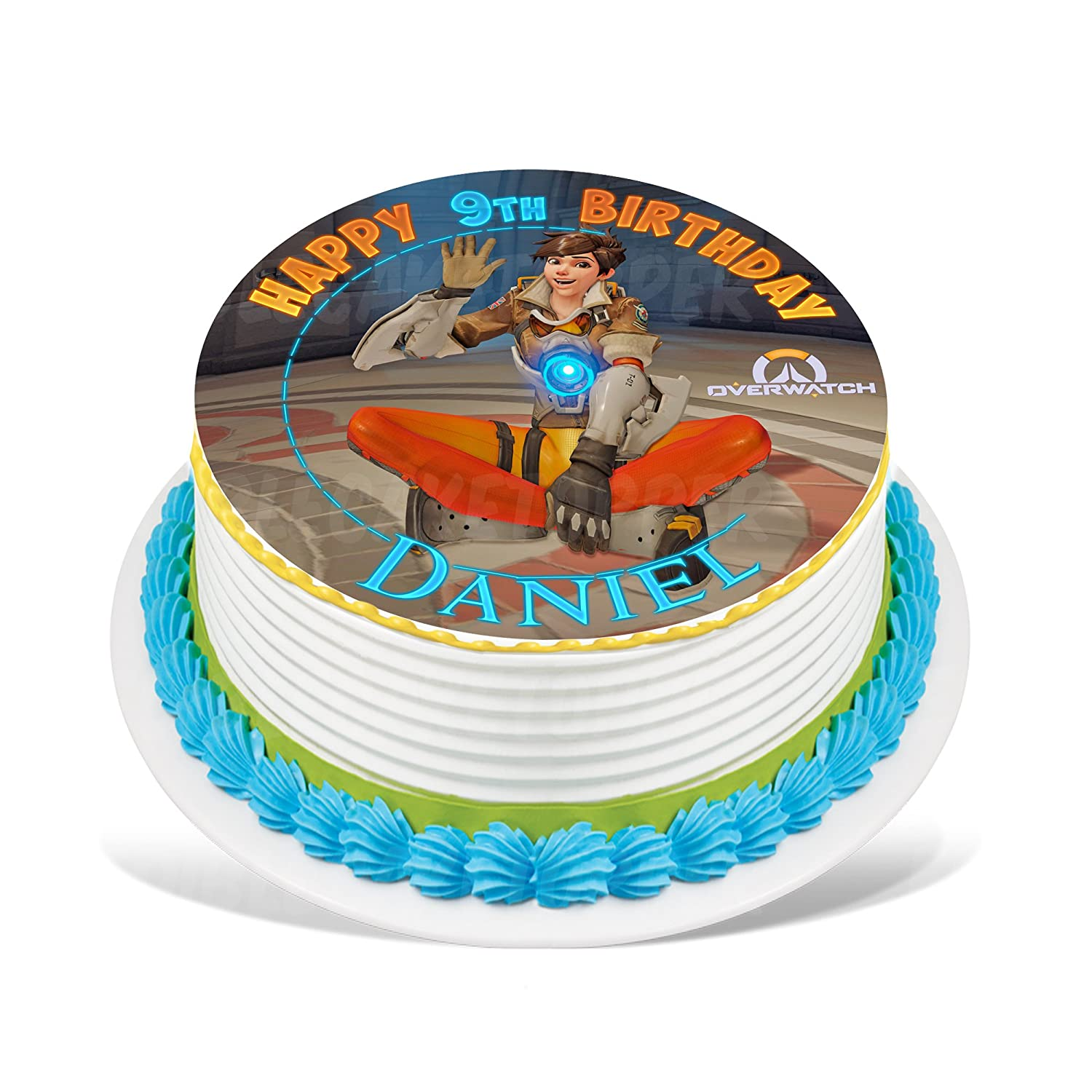 Overwatch Tracer Edible Cake Topper Personalized Birthday 8