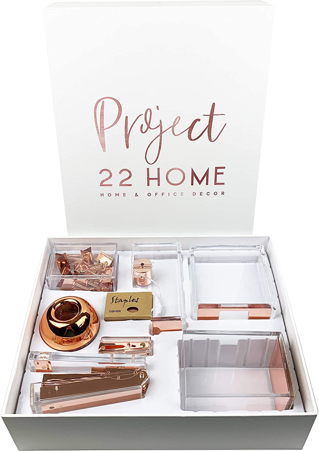 Project22 Home Rose Gold Office Supplies Desk Accessory Set | Stapler, Tape Dispenser, Binder Clips, Stapler with Staples and Remover, Sticky Note Holder, Pen Cup, Paperclips with Clip Dispenser