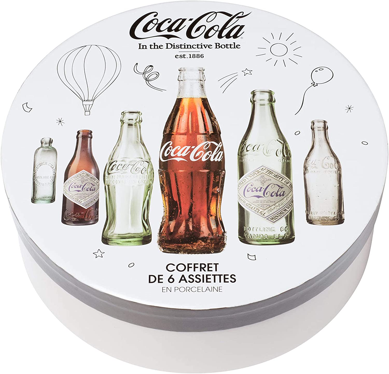 Coca-Cola Coke 38 – 2 C-009 platos llanos redondos botellas Coca-Cola – Estuche de 6 surtidos porcelana color blanco gris y marrón D21 cm: Amazon.es: Hogar