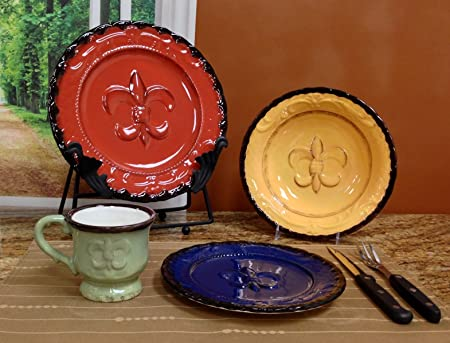 Amazon.com | Tuscany Fleur De Lis 16 Piece Dinnerware Set Kitchen Storage And Organization Product Sets Dinnerware Sets & Amazon.com | Tuscany Fleur De Lis 16 Piece Dinnerware Set: Kitchen ...
