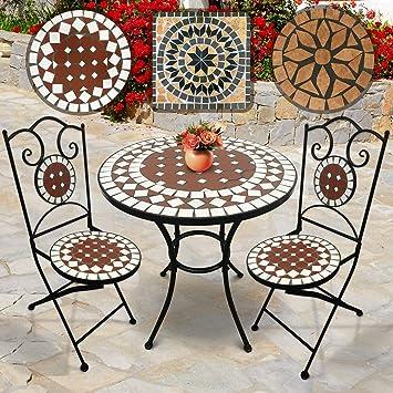 Salon de Jardin Mosaïque | Table Ronde (Ø/H: 60x70cm) et 2 Chaises Pliantes  (Hauteur de Siège: 46cm), Rouge-Blanc | Design au Choix | Meuble de ...