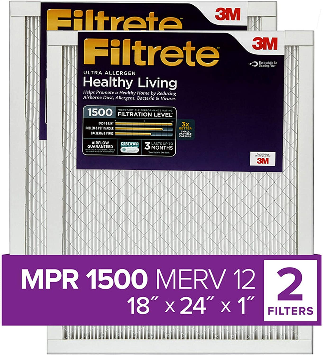 Nordic Pure 15x20x1 MPR 1900 Healthy Living Maximum Allergen Reduction Replacement AC Furnace Air Filters 3 Pack