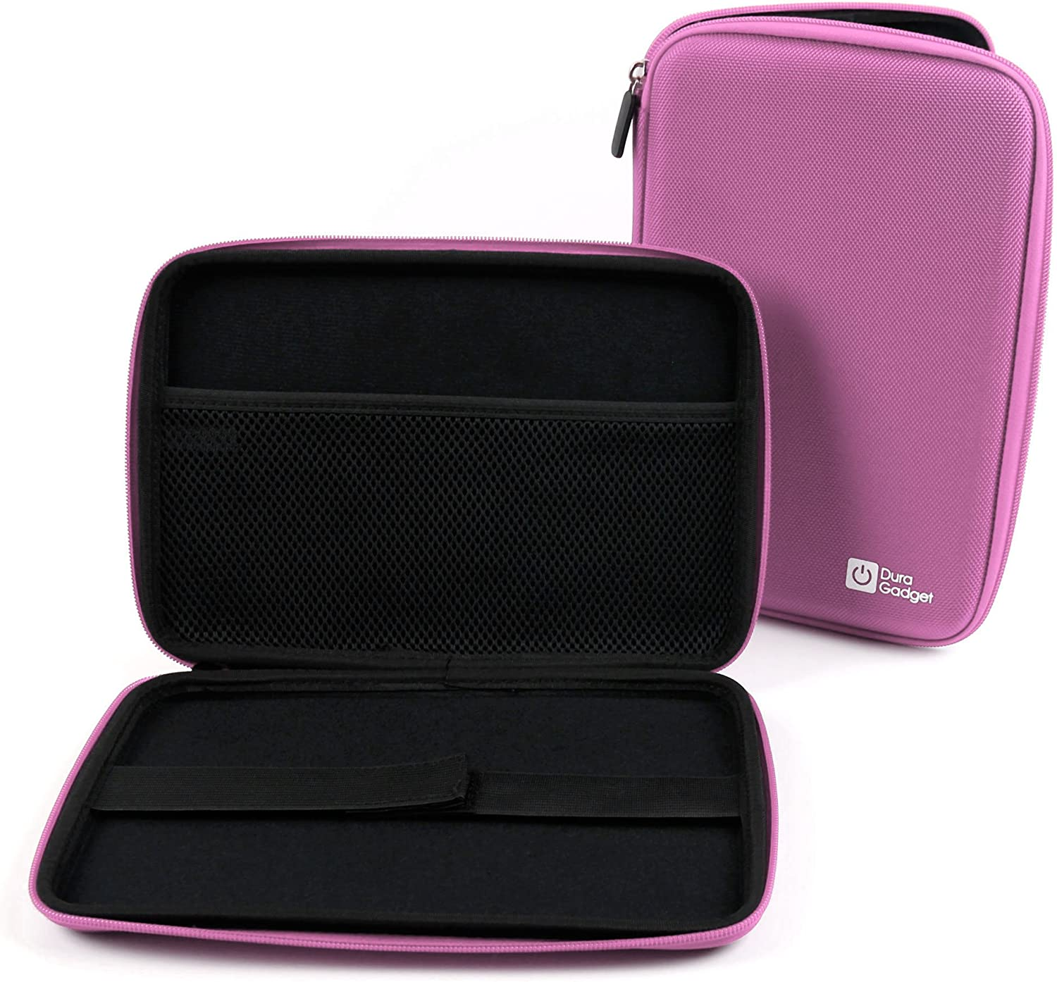 DURAGADGET Pink Rigid Protective Zip Armoured Case with Soft Inner Lining & Netted Pocket for Dell Venue 8, TabletExpress Allwinner A20 & DMG T909 Tablets