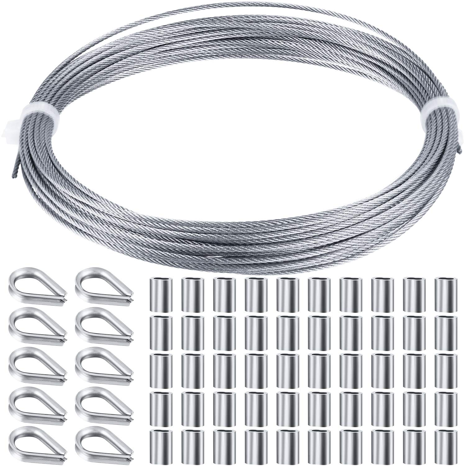 Wire Rope Steel Cable Railing Kits Include Stainless Steel Wire Rope Cable 60, 33 Feet Aluminum Crimping Sleeves and Stainless Steel Thimble for Railing Decking,Picture Hanging Kit