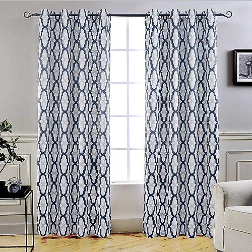 DriftAway Mason Thermal Blackout Grommet Window Curtains Geometric Trellis Pattern 2 Panels Each 52 Inch by 96 Inch Navy