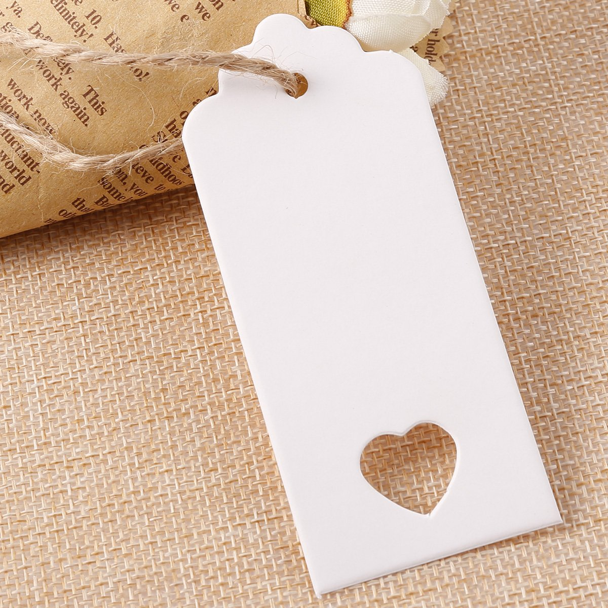 100PCS 9X4CM KRAFT WHITE PAPER TAGS WITH HEART WEDDING GIFT LABEL ...