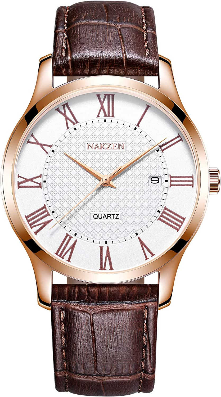 NAKZEN Mens Business Quartz Watch Day and Date Classic Simple Big Dial Tower Waterproof Wrist Watch with Leather Strap and Roman Numerals