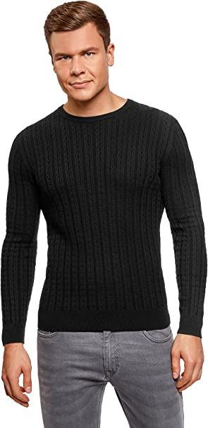 TALLA XL. oodji Ultra Hombre Jersey de Punto Pequeño Trenzado