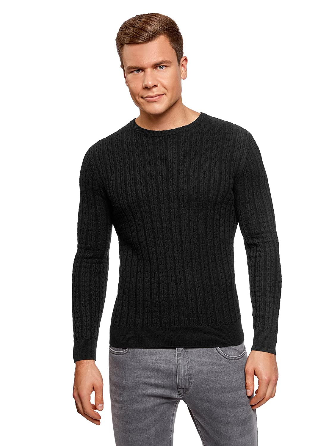 oodji Ultra Mens Fine Cable Knit Pullover
