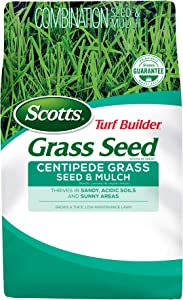 Scotts Turf Builder Grass Seed Centipede Grass Seed and Mulch- 5 lb., Grows in Sandy, Acidic Soils and Sunny Areas, Seed New Lawn or Overseed Existing Lawn, Seeds up to 2,000 sq. ft.