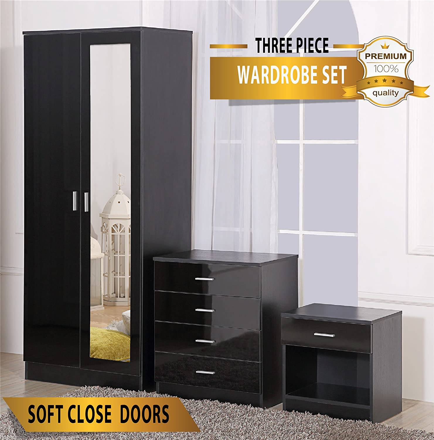 Mirrored High Gloss 3 Piece Bedroom Furniture Set - Soft Close Wardrobe, 4 Drawer Chest, Bedside Cabinet (Black on Black) Harmin Ltd