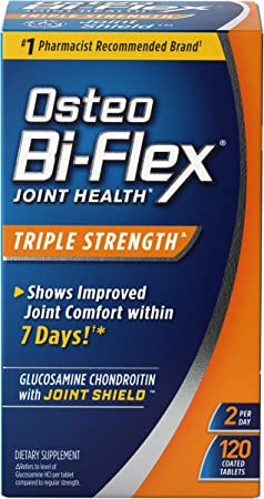 Glucosamine Chondroitin, Triple Strength by Osteo Bi-Flex w/ Vitamin C, Joint Health Supplements with Immune Support*, Gluten Free, 120 Coated Tablets