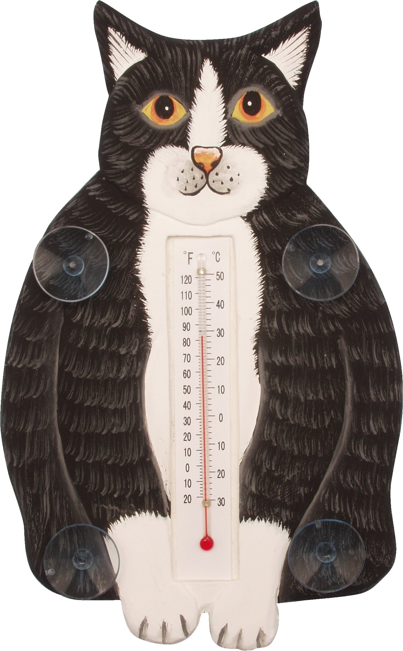 Songbird Essentials SE2170911 Fat Black & White Cat Small Window Thermometer (Set of 1)