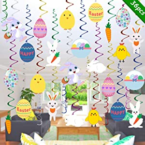 Easter Hanging Swirl Decorations - Pack of 36 | Easter Decorations - Easter Egg Bunny Hanging Swirl Foil Decorations for Ceiling and Windows - Easter Party Ornaments Favors Supplies