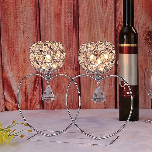 Golden Love Shape Crystal Lantern Candle Holder