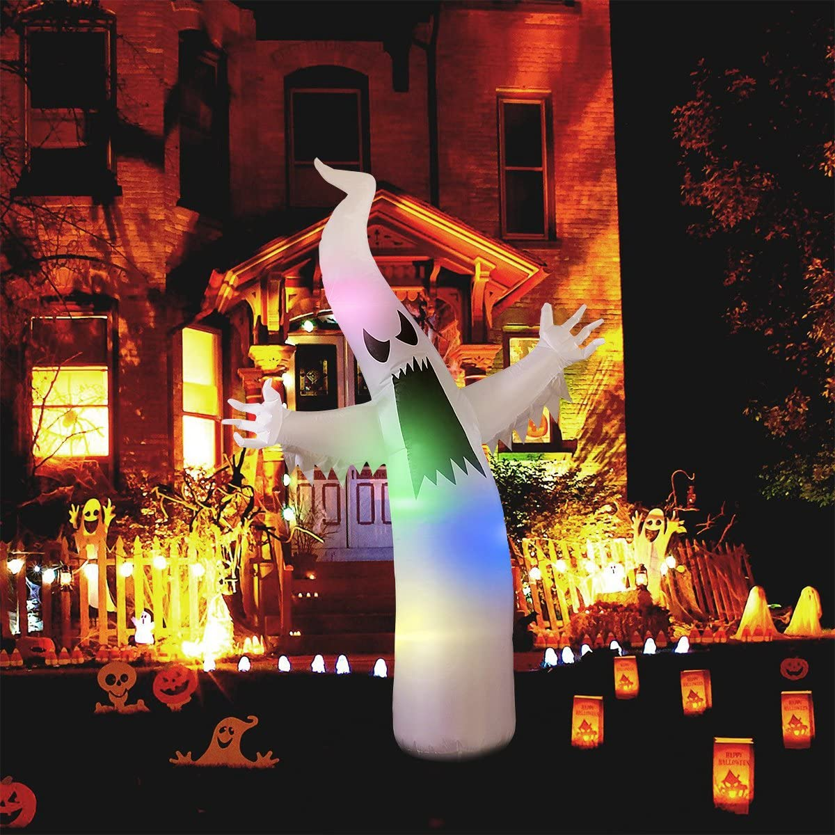 Halloween Inflatable Ghost with Colorful LED Lights Outdoor Halloween swinging ghost with led illumination