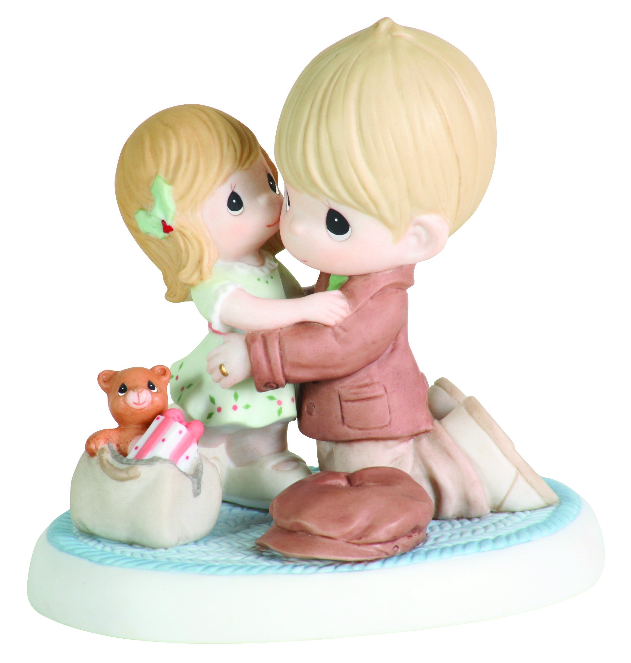 Precious Moments Dad And Daughter Hugging Figurine I'll Be Home for Christmas