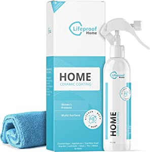 Lifeproof Home Ceramic Coating Spray Kit - Advanced Ceramic Technology for Home Kitchen & Bath Surfaces - Prevents Stains - Keeps Surfaces Cleaner For Longer - Super-slick Anti-stick Properties - Ultra Hydrophobic - Great on Counters, Stainless Steel, Appliances, Sinks, Tile, & more. Microfiber Towel Included - 8 FL OZ.