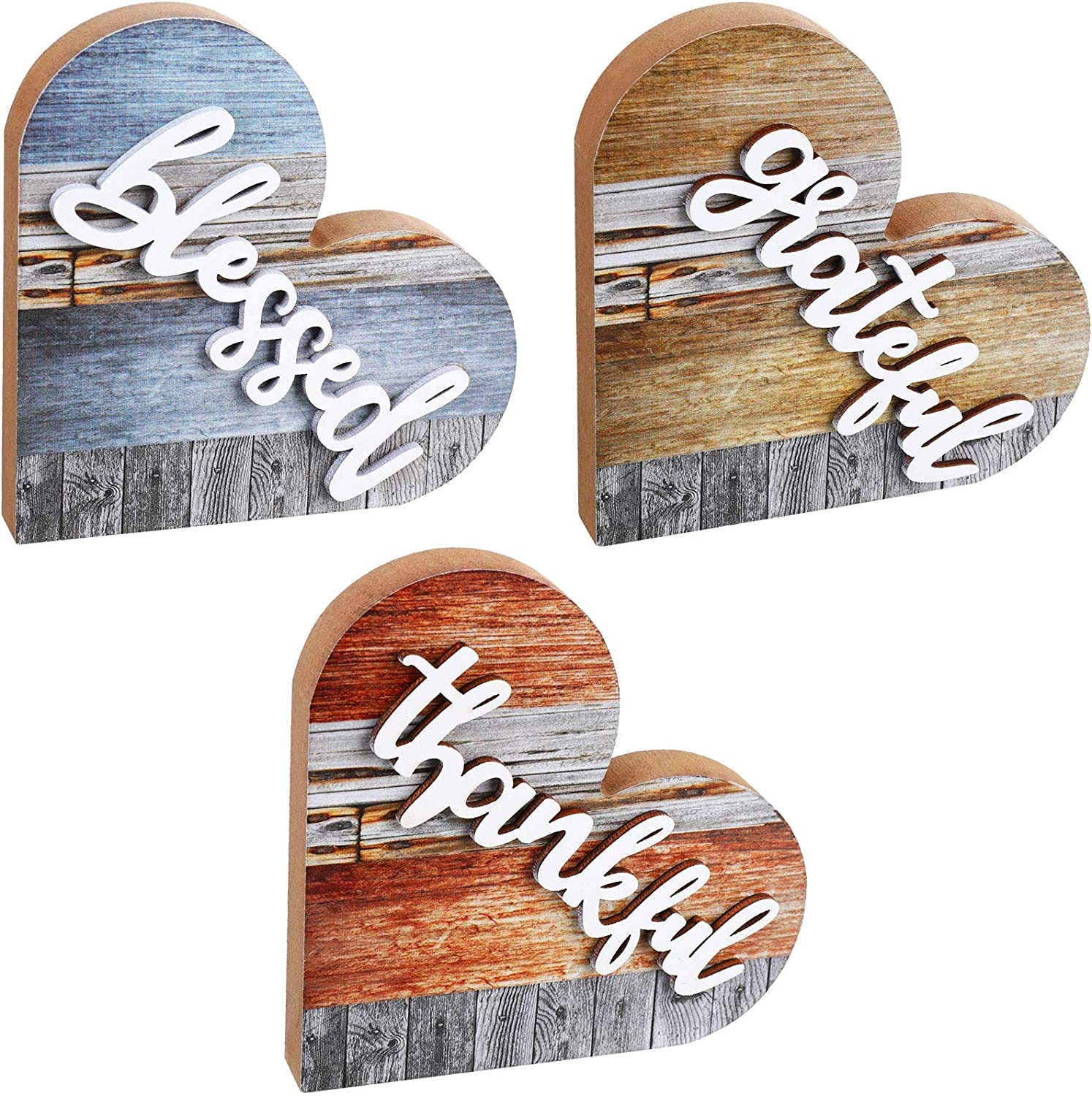 Jetec 3 Pieces Grateful Thankful Blessed Sign Wood Heart Shape Sign Wooden Table Toppers Decoration Centerpiece Rustic Signs for Home Kitchen Decor
